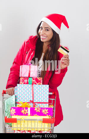 Inderin Weihnachten Online-shopping - Stockfoto