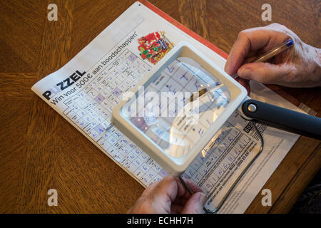 Ältere Frau leidet Presbyopie / Kurzsichtigkeit / Myopie Kreuzworträtsel durch Lupe betrachten - Stockfoto