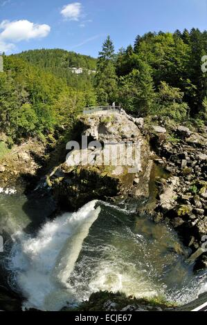 Frankreich, Doubs, Villers le Lac, klassifiziert Saut du Doubs Grand Site de France, Blick auf die Schweizer bank - Stockfoto
