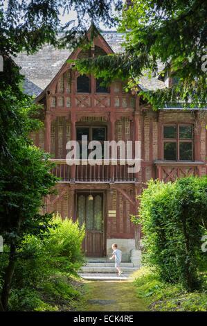 Frankreich, Seine Maritime, Cleres, Cleres Zoological Park, Anglo-normannischen Stil Fachwerk Herrenhaus aus dem - Stockfoto