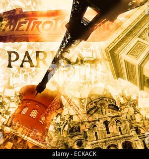 Collage mit verschiedenen Sehenswürdigkeiten von Paris wie der Eiffelturm oder dem Arc de Triomphe, mit einem Retro - Stockfoto