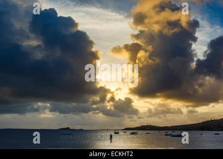 Mauritius, Rodrigues Island, Anse Mourouk, Port Sud Est, Seenlandschaft, am Meer bei Sonnenuntergang - Stockfoto