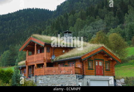 fagernes norwegen haus mit alten altmodischen grasdach f r w rme und energie sparen auf berg mr. Black Bedroom Furniture Sets. Home Design Ideas