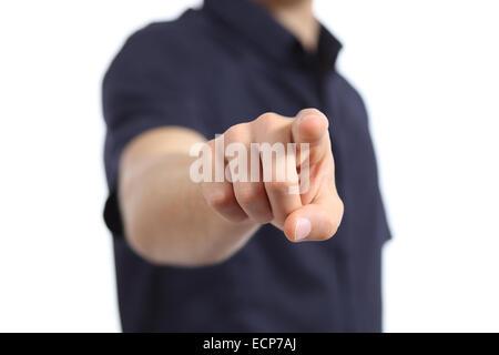 Nahaufnahme von einer Hand des Mannes auf Kamera auf weißem Hintergrund zeigt - Stockfoto