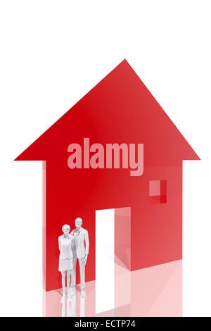 Paar und Haus-symbol Stockfoto