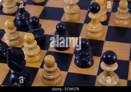 Schach Stücke Closeup, Spiel auf - Stockfoto
