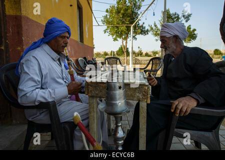 Männer Spielen Domino in Einer Oase, Ägypten - Stockfoto
