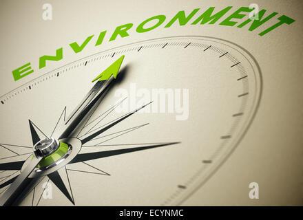 Kompass mit Nadel zeigt das Wort Umwelt, grün und Beige Tönen. Hintergrundbild für die Darstellung der ökologischen - Stockfoto