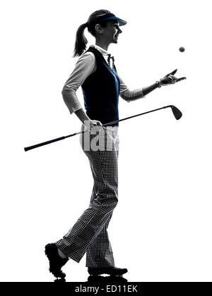 Frau Golfer Golf Silhouette Auf Weissem Hintergrund Stockfoto Bild