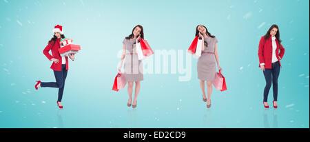 Zusammengesetztes Bild der verschiedenen eleganten Brünette - Stockfoto