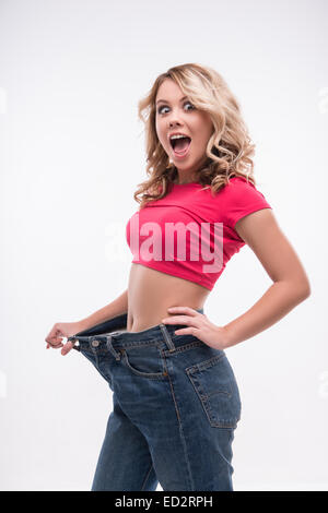 frau mit gro en jeans in di t konzept stockfoto bild 82597379 alamy. Black Bedroom Furniture Sets. Home Design Ideas