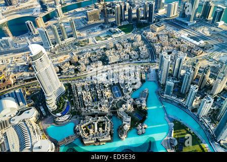 Dubai Stadt ViewDowntown Bezirk, Vereinigte Arabische Emirate - Stockfoto