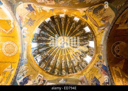 Kirche St Saviour in Chora, Kariye Museum St. Erlöser Mosaik unter freiem Himmel Jesus Christus und die Jünger, - Stockfoto