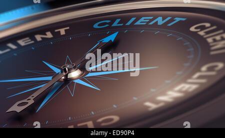 Kompass mit Nadel zeigt den Wort Client, Konzept Bild zur Veranschaulichung CRM, Customer Relationship Management. - Stockfoto