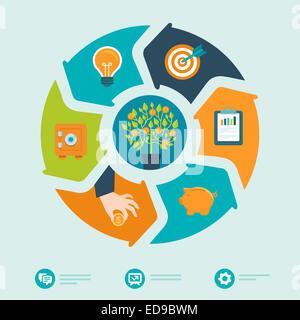 Investitionen Infografiken im flachen Stil - Wirtschaft und Finanzen-Konzept - Stockfoto