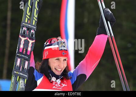 Oberstdorf, Deutschland. 3. Januar 2015. Marit Bjoergen Norwegen feiert nach dem Sieg im Prologs der Tour de Ski - Stockfoto