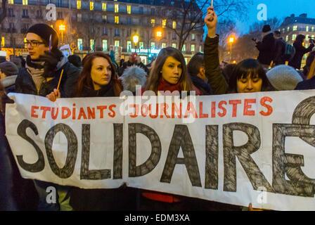 Paris, Frankreich, Demonstration Kundgebung gegen Terrorismus nach dem Shooting Angriff auf die französische Zeitung - Stockfoto