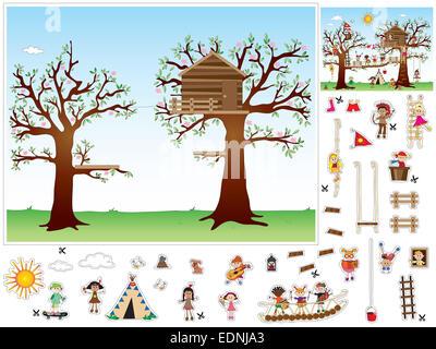 Spiel für Kinder: Ausschneiden und einfügen Stockfoto, Bild ...