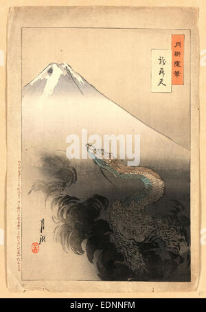 Ryu shoten, Drachen steigen zum Himmel., Ogata, Gekko, 1859-1920, Künstler, 1897., 1 print: Holzschnitt, Farbe - Stockfoto