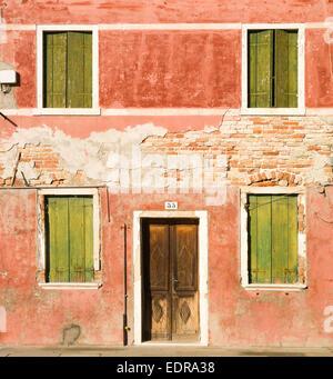 Charakteristischen bunten Häusern in Burano Veneto, Italien - Stockfoto
