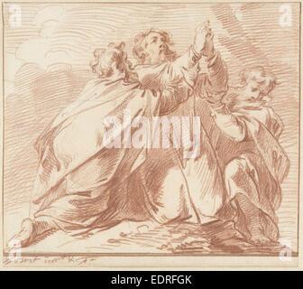 Aaron und Hur struts Moses Hände während dem Kampf des Volkes von Israel gegen die Amalekiter biblische Szene - Stockfoto