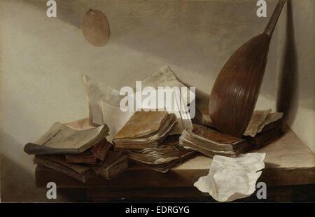 Stillleben mit Büchern, Jan Davidsz. de Heem, 1625-1630 - Stockfoto