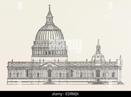 Sir Christopher Wren erste Design St. Pauls, London, England, Gravur, 19. Jahrhundert, England, UK - Stockfoto