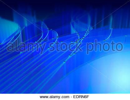 Abstrakte blaues Muster der Vernetzung von Kabeln und Punkte - Stockfoto