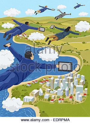 Business-Leute, die fliegen durch Wolken halten digitale Tablets und Smartphones - Stockfoto