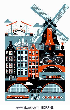 Tourismus-Montage der berühmte Sehenswürdigkeiten in Amsterdam - Stockfoto