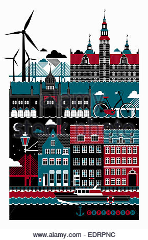 Tourismus-Montage von berühmten Sehenswürdigkeiten in Kopenhagen - Stockfoto
