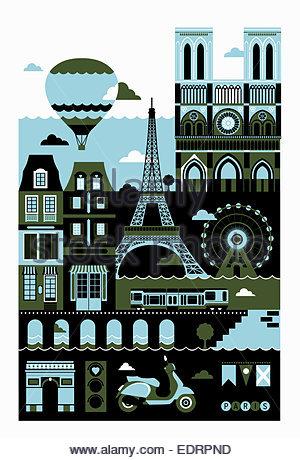 Tourismus-Montage der berühmte Sehenswürdigkeiten in Paris - Stockfoto