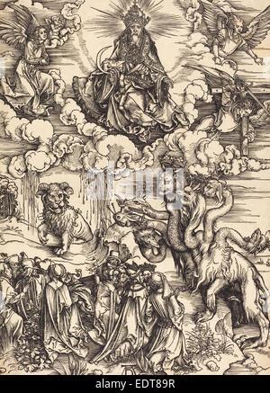 Albrecht Dürer (Deutsch, 1471-1528), das Biest mit zwei Hörner wie ein Lamm, wahrscheinlich c. 1496-1498, Holzschnitt - Stockfoto