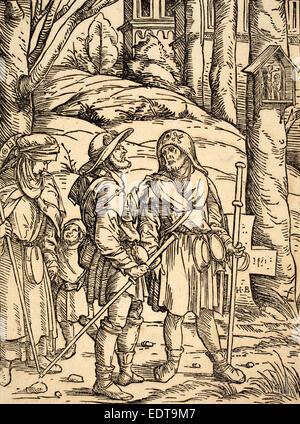 Hans Burgkmair ich (Deutsch, 1473-1531), Pilger an einem Bildstock, 1508, Holzschnitt in schwarz auf Bütten - Stockfoto