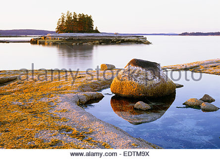 Sonnenuntergang auf den Simsen [Teufel Island] [Jericho Bay] [Hancock County] Maine - Stockfoto
