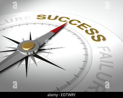 Konzeptionelle 3D-Render Kompass mit Nadel zeigt das Wort Erfolg - Stockfoto