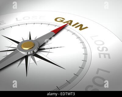 Konzeptionelle 3D-Render Kompass mit Nadel zeigt das Wort Gewinn - Stockfoto