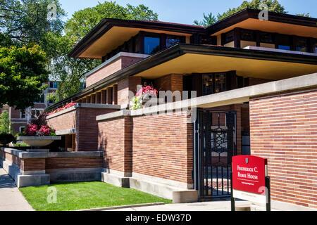 Chicago Illinois Hyde Park Frederick C. Robie House National Historic Landmark Campus Universität von Chicago Architekten - Stockfoto
