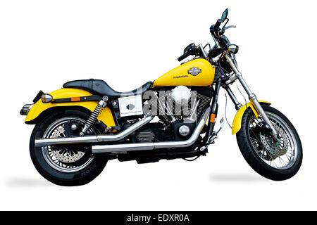eine gelbe harley davidson motorrad stockfoto bild. Black Bedroom Furniture Sets. Home Design Ideas