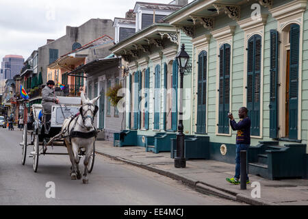 French Quarter, New Orleans, Louisiana.  Maultier-Kutsche bestehen zwei Shotgun Houses, Bourbon Street. - Stockfoto