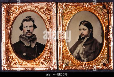 Mann und Frau, Porträts in verschiedenen Frames, Daguerreotypie, ca. 1850 - Stockfoto