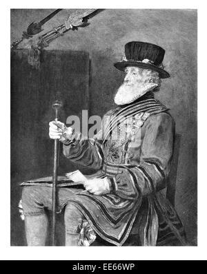 Das Beefeater Sir John Everett Millais Yeoman Of The Guard 1876 Royal Warder Tower von London Körper zeremonielle - Stockfoto
