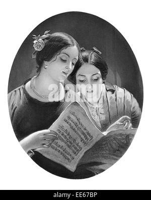 Das Duett James Sant Royal Academy Porträt Notenlesen Musik Blatt Musiker Frau weibliche Anmut anmutige Schönheit - Stockfoto