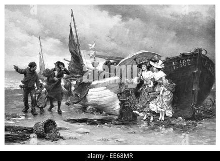 Kommende Dusche Pierre Outin Schiff Landung landete Gale Force Winde Wind Kapitän viktorianischen Dame Damen Regenschirm - Stockfoto