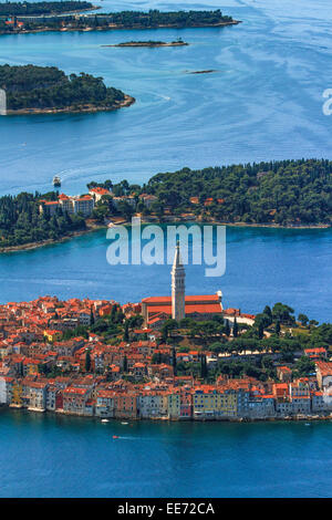 Luftaufnahme, Stadt Rovinj, Istrien, Kroatien - Stockfoto