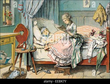 Prinzessin Louise am Bett eines Kranken scharlachrote Dorf Kindes in Broich, lesen ein Märchen (1789), Louise von - Stockfoto