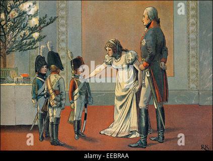 Das Königspaar Frederick William III und Louise am Heiligabend 1803 geben Uniformen als seinen Söhnen präsentiert: - Stockfoto