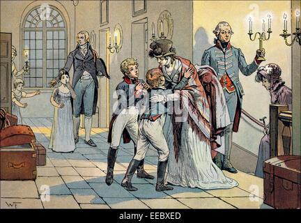 Erste Sitzung der Königin Louise und ihre Kinder nach der Schlacht von Jena in der Burg von Schwedt, 18. Oktober - Stockfoto