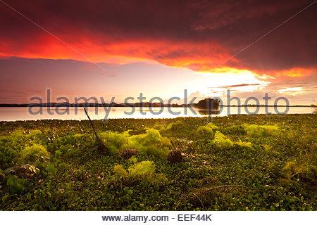 Bunte Wolken bei Sonnenuntergang am See von Refugio de Vida Silvestre Cienage las Macanas Nature Reserve, Republik - Stockfoto