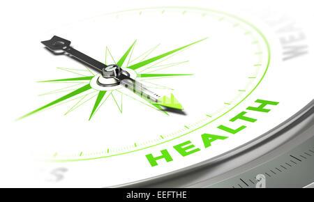 Kompass mit Nadel zeigt das Wort Gesundheit, weiß und grün-Tönen. Hintergrundbild für medizinische Konzept - Stockfoto